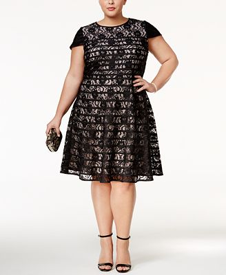 Alfani Plus Size Lace Fit Amp Flare Dress Only At Macy S