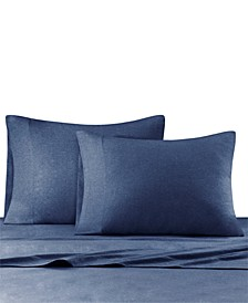 Heathered Cotton Jersey 4-Pc. Solid Queen Sheet Set