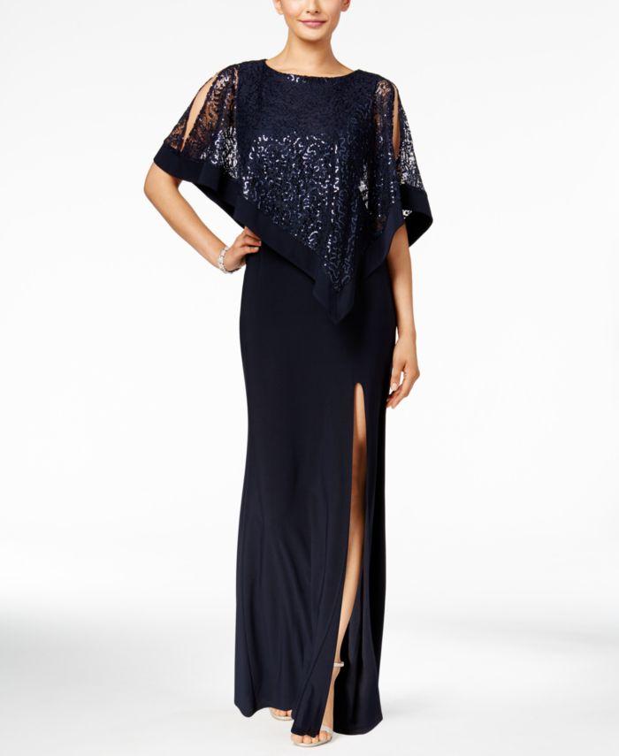 R & M Richards Sequined Lace Cape Gown & Reviews - Dresses - Women - Macy's