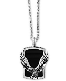 EFFY® Men's Onyx (31 x 20mm) Eagle Pendant Necklace in Sterling Silver