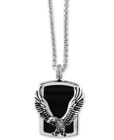 Effy mens onyx 31 x 20mm eagle pendant necklace in sterling effy mens onyx 31 x 20mm eagle pendant necklace in sterling silver aloadofball Choice Image