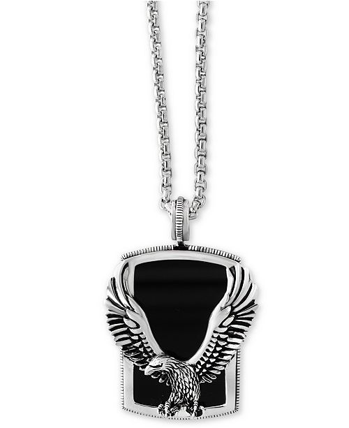 EFFY Collection EFFY® Men's Onyx (31 x 20mm) Eagle Pendant Necklace in Sterling Silver