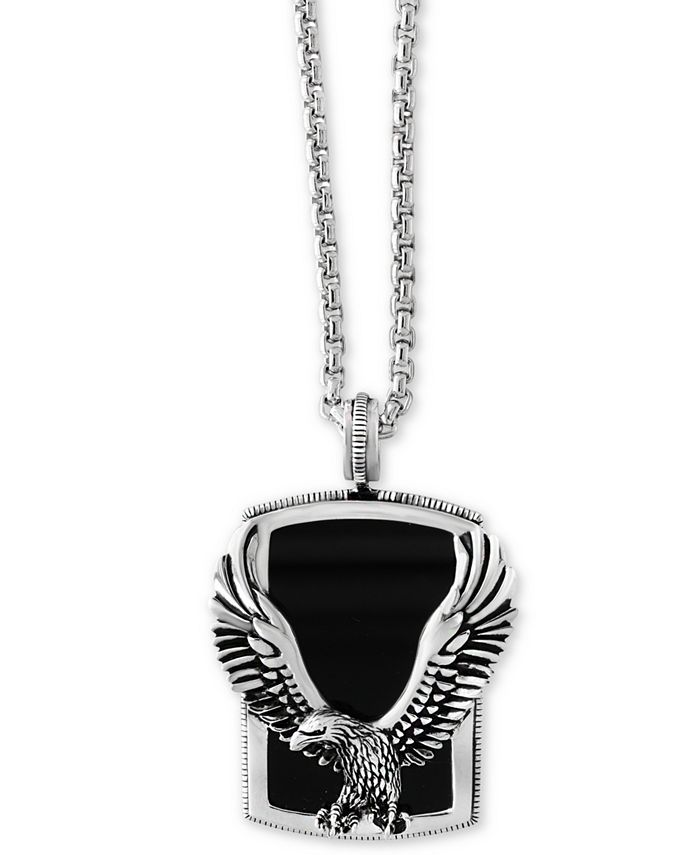 EFFY Collection - Men's Onyx (31 x 20 mm) Eagle Pendant Necklace in Sterling Silver and Oxidized Silver