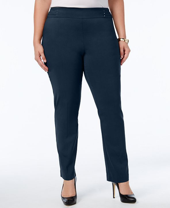 JM Collection Plus Size Tummy Control Pull-On Slim-Leg Pants