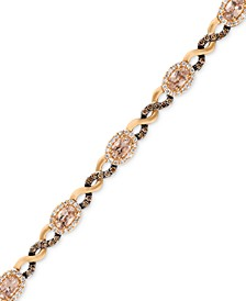 Morganite (1-1/2 ct. t.w.) and Diamond (1-1/8 ct. t.w.) Link Bracelet in 14k Rose Gold