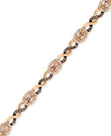 Le Vian® Morganite (1-1/2 ct. t.w.) and Diamond (1-1/8 ct. t.w.) Link Bracelet in 14k Rose Gold