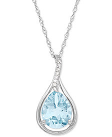 Aquamarine (1-1/2 ct. t.w.) and Diamond Accent Teardrop Pendant Necklace in 14k White Gold