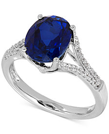 Lab-Created Sapphire (3-5/8 ct. t.w.) and White Sapphire (1/5 ct. t.w.) Ring in Sterling Silver