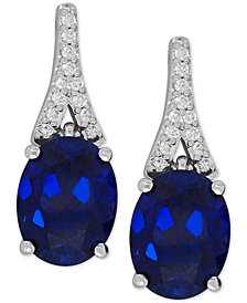 Lab-Created Sapphire (5-1/5 ct. t.w.) and White Sapphire (1/8 ct. t.w.) Drop Earrings in Sterling Silver