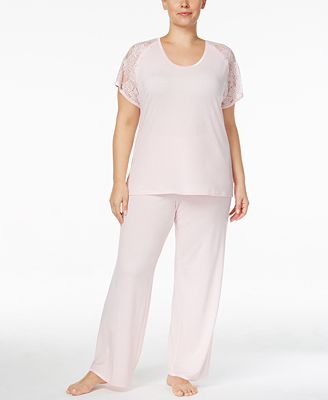 Flora by Flora Nikrooz Plus Size Rylie Lace-Sleeve Knit Pajama Set