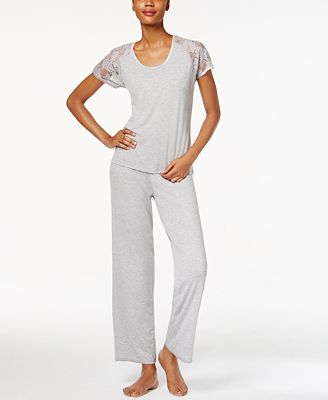 Flora by Flora Nikrooz Rylie Lace-Sleeve Knit Pajama Set