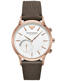 Emporio Armani Men's Renato Dark Brown Leather Strap Hybrid Smart Watch 43mm ART3002