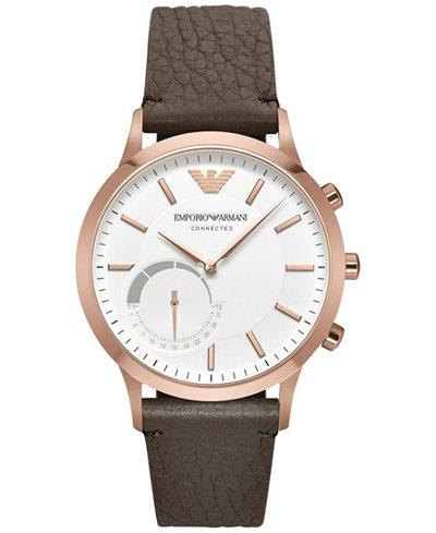 Emporio Armani Men's Renato Dark Brown Leather Strap Hybrid Smart Watch 43mm ART3002