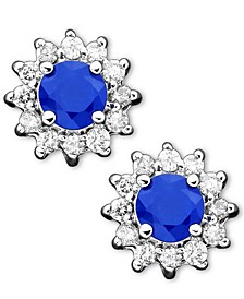 Royalty Inspired by EFFY® Sapphire(5/8 ct. t.w.) and Diamond (1/4 ct. t.w.) Stud in 14k White Gold(Also Available in Emerald)
