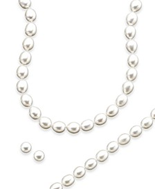 Sterling Silver Cultured Freshwater Pearl Necklace, Bracelet and Earring Set