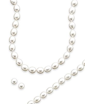 Macy S Sterling Silver Cultured Freshwater Pearl Necklace Bracelet