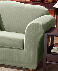 Stretch Pinstripe 2-Piece T-Cushion Slipcover Collection