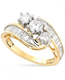Diamond Bypass Ring in 14k Gold, White Gold or Rose Gold (1-1/2 ct. t.w.)