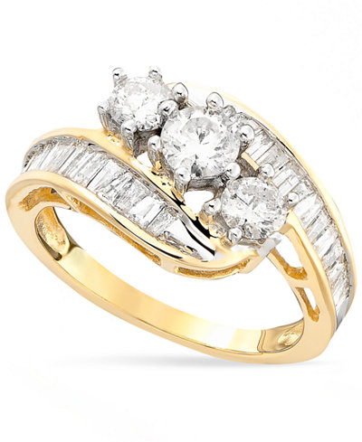 Diamond Bypass Ring in 14k Gold or White Gold (1-1/2 ct. t.w.)