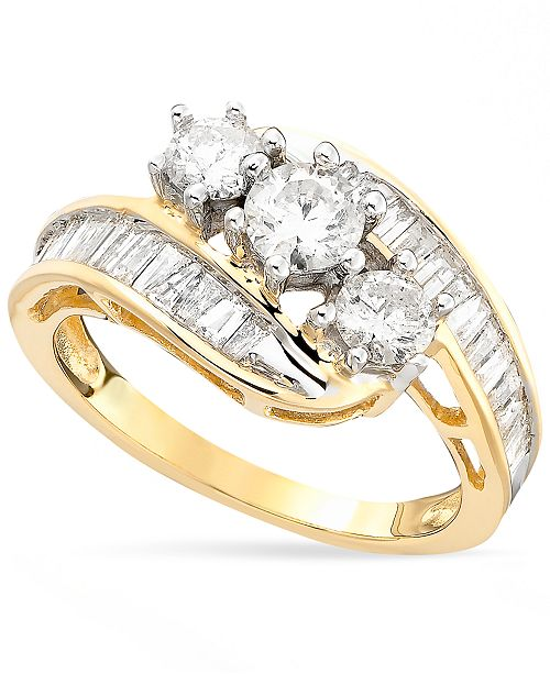 ct ring diamond t bypass w gold p two tw rings twostone stone us in white ever v