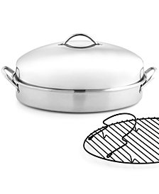 Martha Stewart Collection Stainless Steel Covered Oval Roaster with Roasting Rack, Created for Macy's