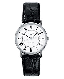Longines Men's Presence Black Alligator Strap Watch L48214112