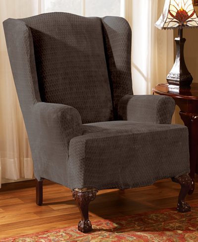 Sure Fit Stretch Royal Diamond Wing Chair Slipcover