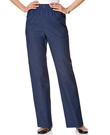 Alfred Dunner Classics Denim Pull-On Straight-Leg Pants