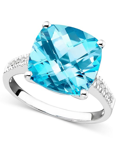 Macy's 14k White Gold Ring, Blue Topaz (7-3/4 ct. t.w.) and Diamond Accent Ring