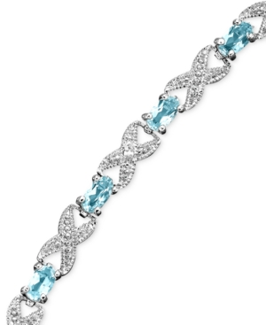 Victoria Townsend Sterling Silver Bracelet, Blue Topaz (3 ct. t.w.) and Diamond Accent