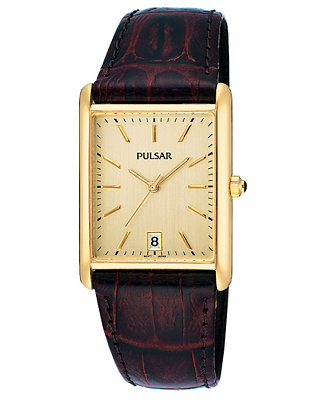 Pulsar Men S Brown Leather Strap Watch Pg8252 Watches