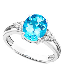 14k White Gold Ring, Blue Topaz (2-3/4 ct. t.w.) and Diamond (1/10 ct. t.w.)
