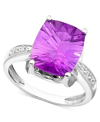 14k White Gold Ring, Amethyst (5-1/6 ct. t.w.) and Diamond Accent
