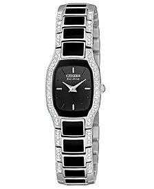 Citizen Women's Eco-Drive Stainless Steel and Black Enamel Bracelet Watch 19mm EW9780-57E