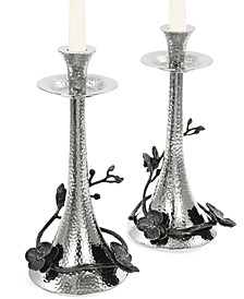 Black Orchid Set of 2 Candlestick Holders