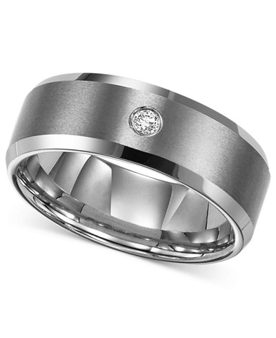 Triton Men S Tungsten Carbide Ring Single Diamond Accent Wedding Band
