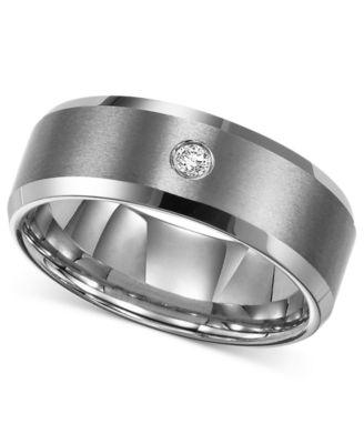 Triton Menu0027s Tungsten Carbide Ring, Single Diamond Accent Wedding Band