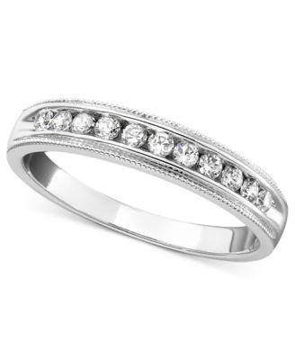 14k White Gold Ring, Round Cut Diamond Band (1/4 ct. t.w.)