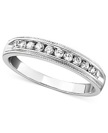 14k White Gold Ring, Round Cut Diamond Band (1/4 ct. t.w.)