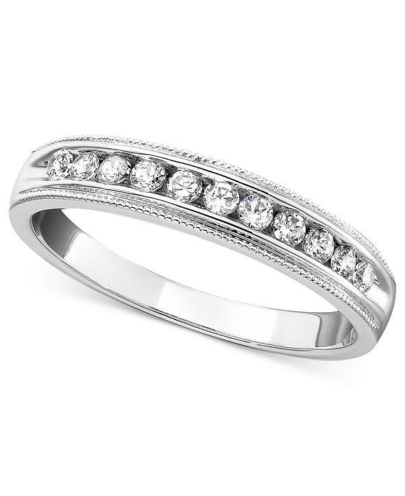 Macy's Round Cut Diamond Band (1/4 ct. t.w.) 14k White Gold