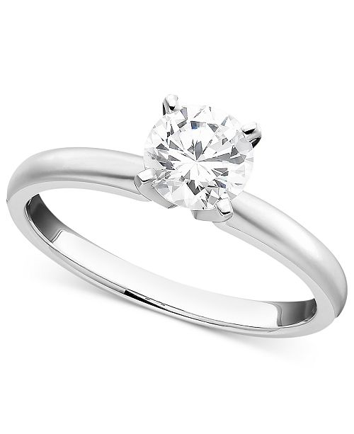 Macy's Engagement Ring, Certified Colorless Diamond  (1/2 ct. t.w.) and 18k White Gold
