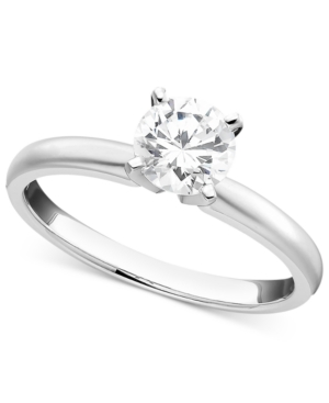 Certified Diamond Solitaire Engagement Ring in 18k White Gold (3/4 ct. t.w.)
