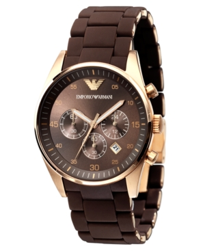 Emporio Armani Men's Brown Silicone-Wrapped Gold-Tone Stainless Steel Bracelet Watch AR5890