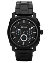 0e1fc8ccd26 Fossil Men s Chronograph Machine Black Stainless Steel Bracelet Watch 45mm  FS4552