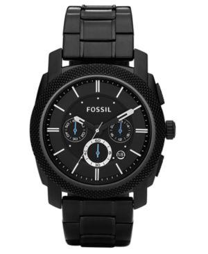 Fossil Men's Chronograph Machine Black Stainless Steel Bracelet Watch 45mm FS4552