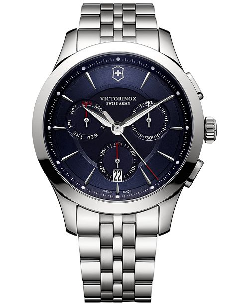 ... Victorinox Swiss Army Men s Swiss Chronograph Alliance Stainless Steel  Bracelet Watch 44mm 241746 ... 2a61bdbbb4