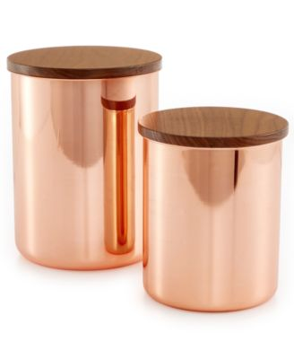 Martha Stewart Collection Set of 2 Heirloom Copper Plated Canisters