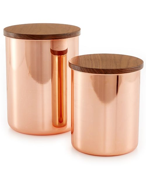 stewart kitchen canisters martha stewart collection set of 2 heirloom copper plated