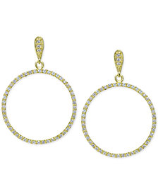"Giani Bernini Large Cubic Zirconia Pavé Gypsy Hoop Earrings in 18k Gold-Plated Sterling Silver, 1.6"", Created for Macy's"