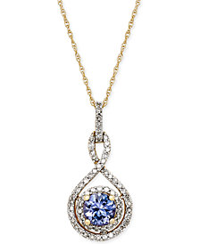 Tanzanite (3/8 ct. t.w.) and Diamond (1/4 ct. t.w.) Pendant Necklace in 14k Gold
